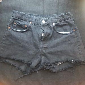 Reformation black denim shorts